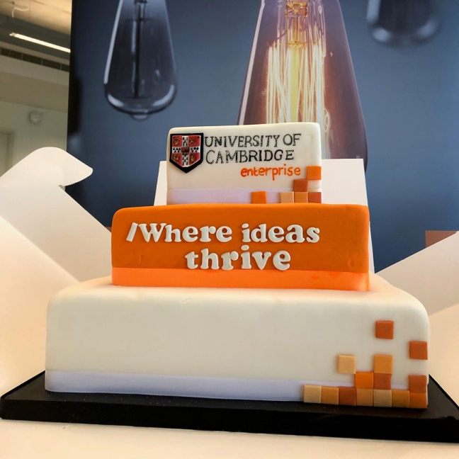 Cambridge Enterprise branded cake
